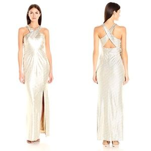 Laundry by Shelli Segal Gold Metallic Gown 4